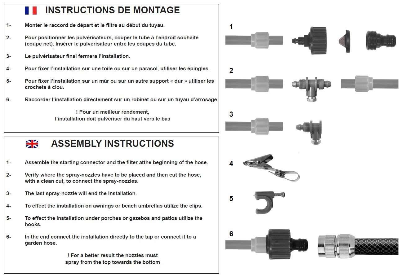 3 Kit Brumisation Terrasse Patio Exterieur Brumisateur Rafraichisseur 925001